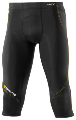 Skins Bio A400 Mens Black/Yellow 3/4 Tights
