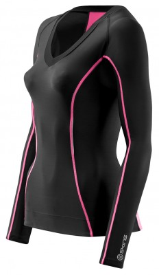 Skins Bio A200 Womens Black/Pink Top Long  Sle