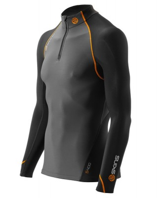 Skins Bio S400 - Thermal Mens Black/Graphite/Orange L/S MckNeckw zip