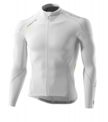 Skins Cycle Mens White Compresn L/S Jersey
