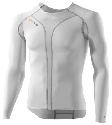 Skins Cycle  Mens White/Grey Comp Baselyr L/S Top