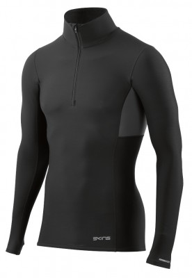 Skins DNAmic Thermal Men's Compression L/S Mock Neck with zip Black/Charcoal