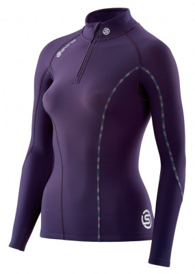 Skins DNAmic Thermal Women's Compression L/S Mock Neck with zip Blackberry/Violet