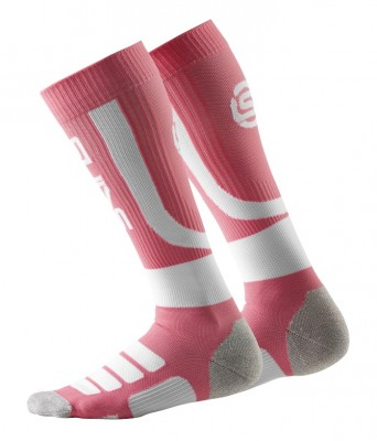 SKINS Essentials Womens Compression Socks Active Fluro Peach/White
