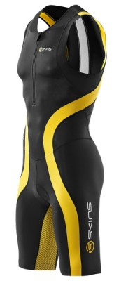 Skins TRI 400 Mens Black/Yellow Skinsuit w Front Zip